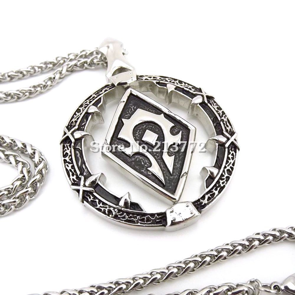 WOW-World-of-Warcraft-Horde-Symbol-Necklace-Titanium-Steel-Pendant-Free-24-Stainless-Steel-Chain-High